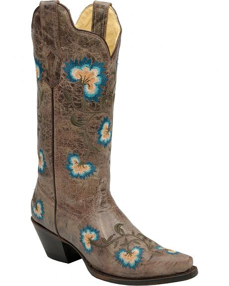Corral Blue Flower Embroidered Cowgirl Boots - Snip Toe