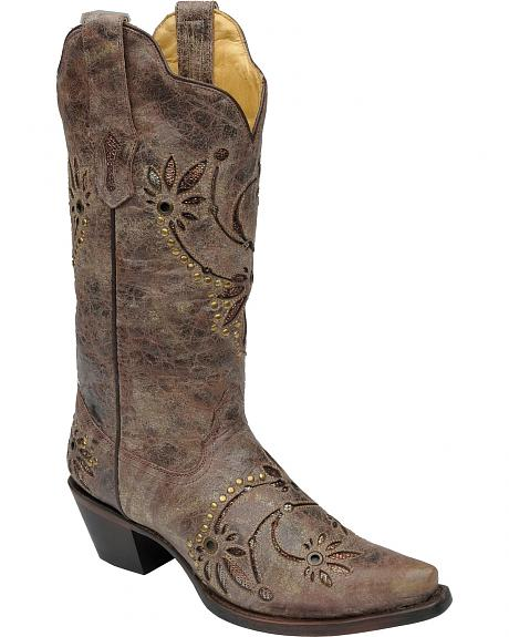 corral studded gold lace inlay boots snip toe