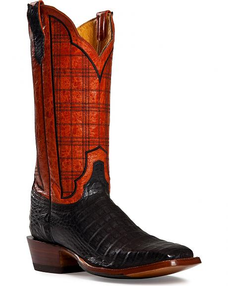 Cinch Black Caiman Stained Glass Embroidered Cowgirl Boots - Square Toe