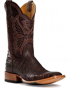Cinch Antique Brown Caiman Cowgirl Boots - Square Toe