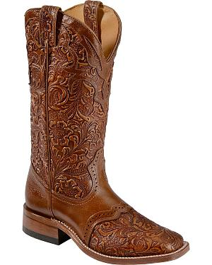 Boulet Hand Tooled Belmont Cowgirl Boots - Square Toe
