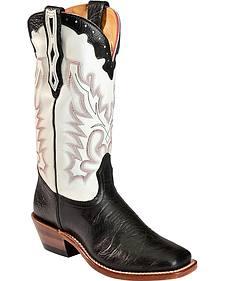 Boulet Tamboreado Blanco Cowgirl Boots - Square Toe