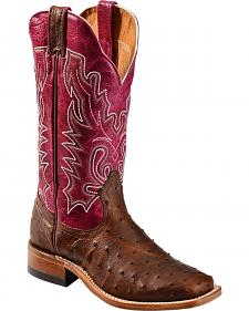 Boulet Antique Full Quill Ostrich Cowgirl Boots - Square Toe