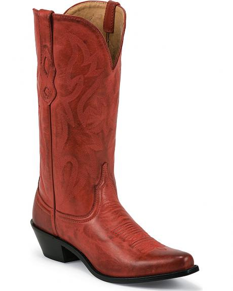 Nocona Red Leather Cowgirl Boots - Snip Toe