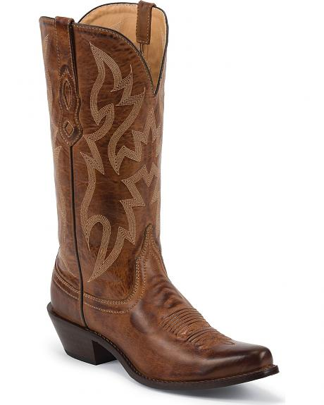 Nocona Brown Leather Cowgirl Boots - Snip Toe