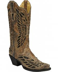 Corral Crystal Butterfly Cowgirl Boots - Snip Toe