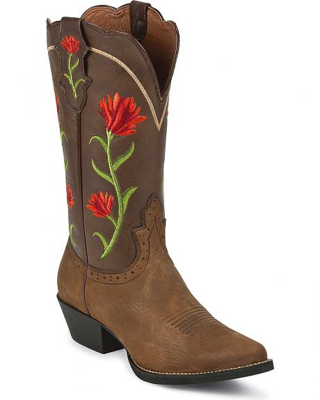 Justin Floral Embroidered Cowgirl Boots - Round Toe