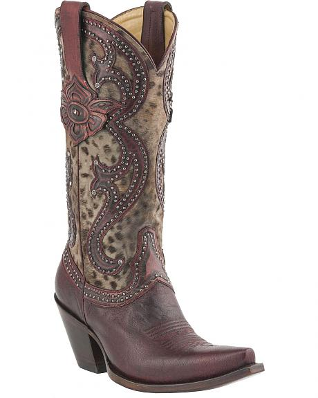 Lucchese Handcrafted 1883 Antique Red Cheetah Studded Cowgirl Boots - Snip Toe