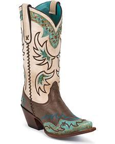 Tony Lama 100% Vaquero Espresso & Turquoise Wingtip Cowgirl Boots - Snip Toe