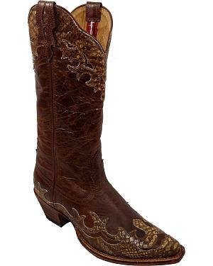 Twisted X Steppin Out Python Overlay Cowgirl Boots - Snip Toe