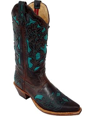 Twisted X Steppin Out Turquoise Inlay Cowgirl Boots - Snip Toe