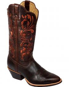 Twisted X Western Chocolate Embroidered Cowgirl Boots - Round Toe