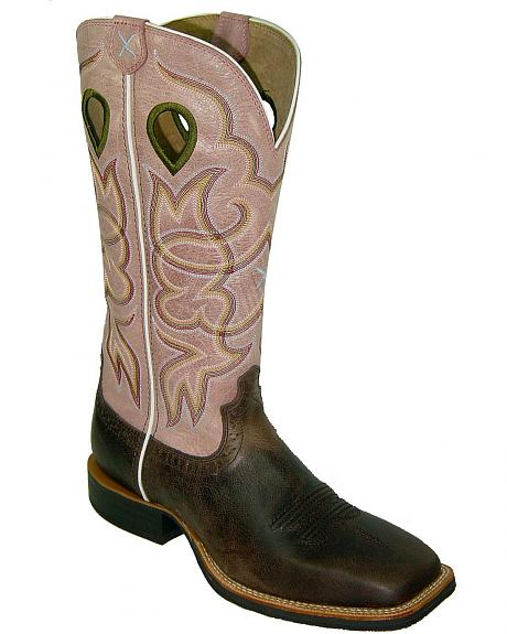 Twisted X Ruff Stock Pink Cowgirl Boots - Square Toe