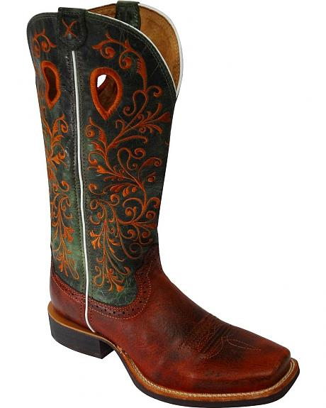 Twisted X Ruff Stock Fancy Scroll Embroidered Cowgirl Boots - Square Toe