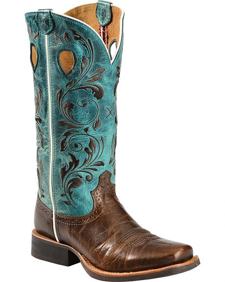 Twisted X Ruff Stock Turquoise Embroidered Cowgirl Boots - Square Toe