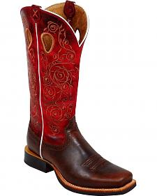 Twisted X Ruff Stock Red Embroidered Cowgirl Boots - Square Toe