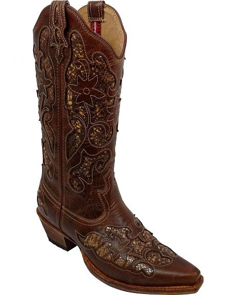 Twisted X Steppin' Out Python Inlay Cowgirl Boots - Snip Toe