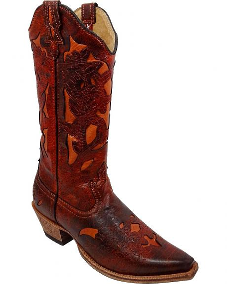 Twisted X Steppin' Out Brandy Inlay Cowgirl Boots - Snip Toe