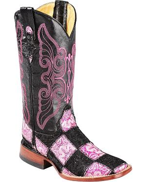 Ferrini Black & Pink Glitter Patchwork Cowgirl Boots - Square Toe
