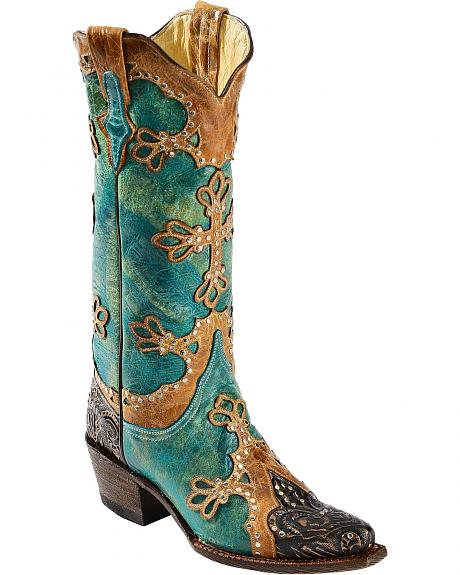 Ferrini Embossed Diva Studded Cross Overlay Cowgirl Boots - Snip Toe