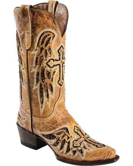 Ferrini Glitter Cross & Wing Inlay Cowgirl Boots - Snip Toe