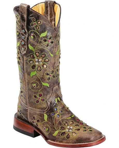 Ferrini Blossom Sequin Inlay Cowgirl Boots - Square Toe