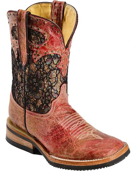 Ferrini Glittery Shorty Cowgirl Boots - Square Toe