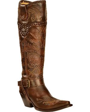 Corral Vintage Studded Harness Cowgirl Boots - Snip Toe