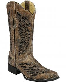 Corral Butterfly Sequin Inlay Cowgirl Boots - Square Toe