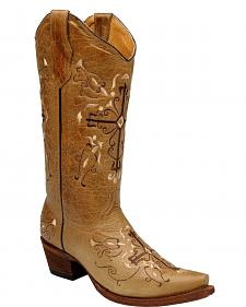 Circle G Cross Embroidered Cowgirl Boots - Snip Toe