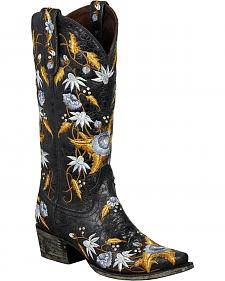 Lane Summer Bounty Floral Embroidered Cowgirl Boots - Snip Toe