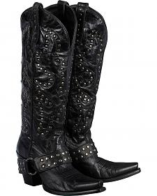 Lane Boots Studded Rocker Harness Cowgirl Boots - Snip Toe