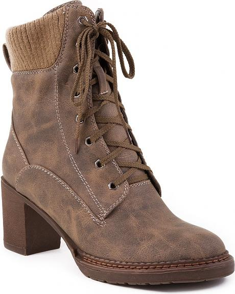 Roper Lace-Up Sweater Boots - Round Toe