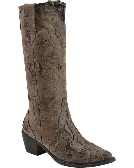 Roper Pebbled Inlay Cowgirl Boots - Pointed Toe