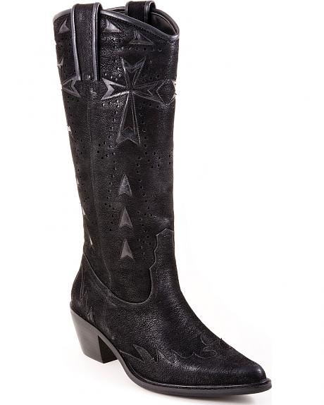 Roper Cross Inlay Cowgirl Boots - Pointed Toe