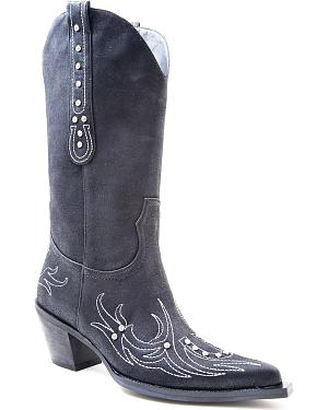 Roper Rhinestone Embellished Horseshoe Embroidered Cowgirl Boots - Pointed Toe