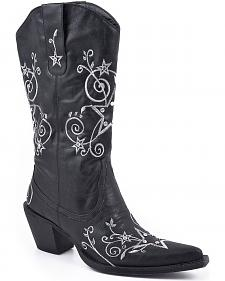 Roper Star Embroidered Cowgirl Boots - Pointed Toe