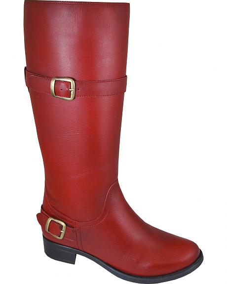 Smoky Mountain Donna Red Tall Riding Boots - Round Toe
