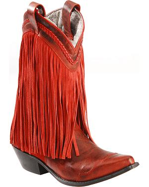 Smoky Mountain Rosie Red Fringe Cowgirl Boots - Snip Toe