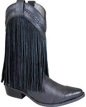 Smoky Mountain Rosie Black Fringe Cowgirl Boots - Snip Toe