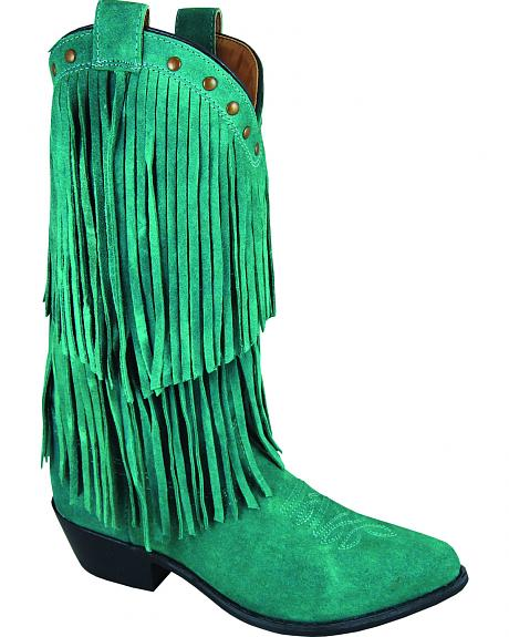 Smoky Mountain Wisteria Teal Fringe Short Boots - Pointed Toe