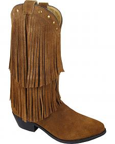 Smoky Mountain Wisteria Brown Fringe Short Boots - Pointed Toe