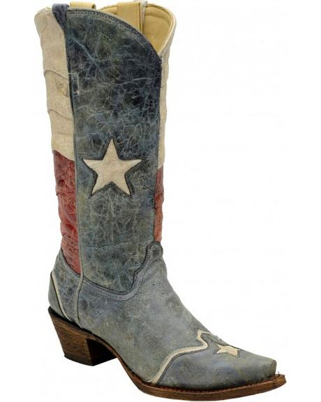 Corral Distressed Texas Flag Cowgirl Boots - Snip Toe