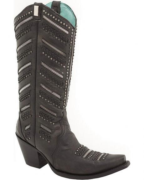 Corral Black Chunky Zippered and Studded Cowgirl Boots - Snip Toe