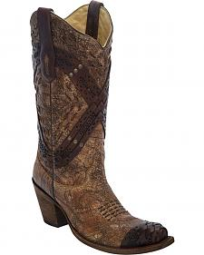 Corral Cognac Braided Straps & Studs Cowgirl Boots - Snip Toe