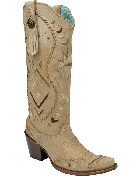 Corral Bone Aztec-Inspired Whip Stitch Boots - Snip Toe