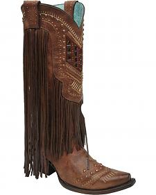 Corral Colorful Crystal Fringe Cowgirl Boots - Snip Toe MULTICOLOR CRYSTAL PATTERN & FRINGE