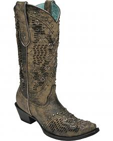 Corral Goat Woven Studded Cowgirl Boots - Snip Toe