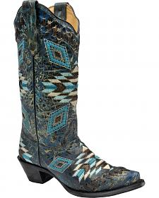 Corral Distressed Turquoise Aztec Woven Cowgirl Boots - Snip Toe