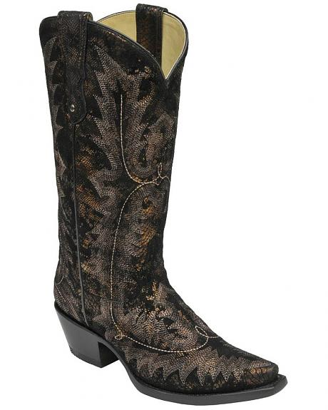 Corral Black Antique Snake Print Cowgirl Boots - Snip Toe